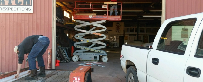 Hatch River Expeditions, Marble Canyon warehouse, LED lights